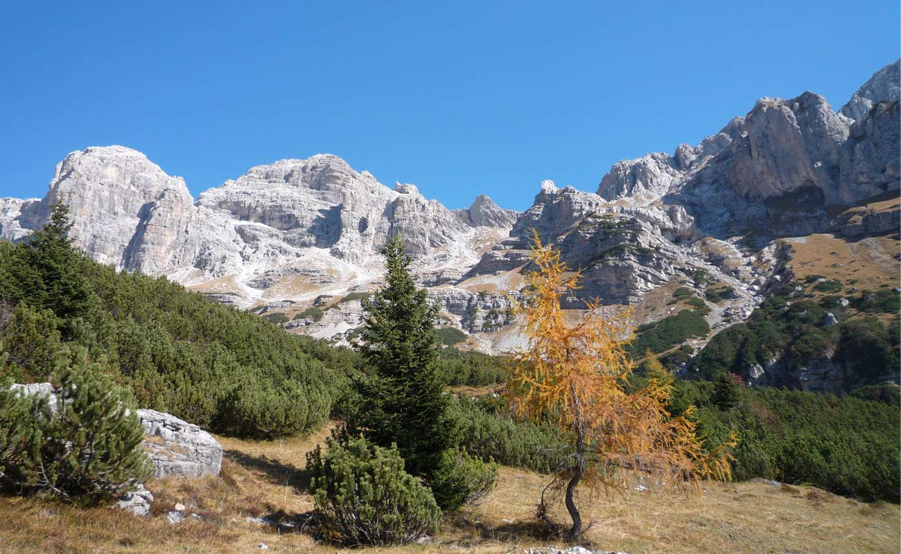 The beautiful mountains of the Dolomites and Paganella in the summer